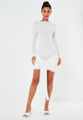 Missguided White Slinky Drape Tie Front Mini Dress
