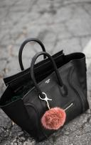 Ily Couture Fur Pom Bag Charm - Auburn