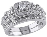 Allura 1/2 CT. T.W. Princess Cut and Round Diamond Bridal Ring Set in 14K White Gold (GH I1-I2)