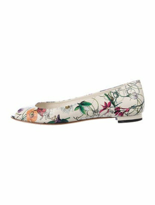 Gucci Flora Print Leather Ballet Flats White