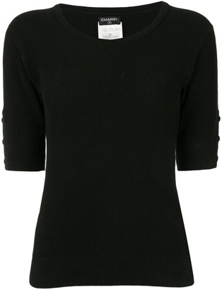 Chanel Pre Owned 1996s CC round neck short sleeve knit tops