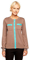 Linea by Louis Dell'Olio As Is Linea by Louis Dell' olio Crew Neck Cardigan with Velvet Trim