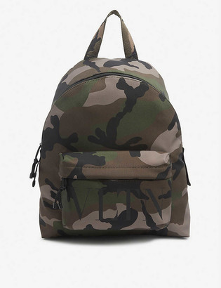 Valentino Hangers branded camo-print nylon backpack