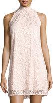 Chetta B High-Neck Sleeveless Lace Shift Dress, Light Pink