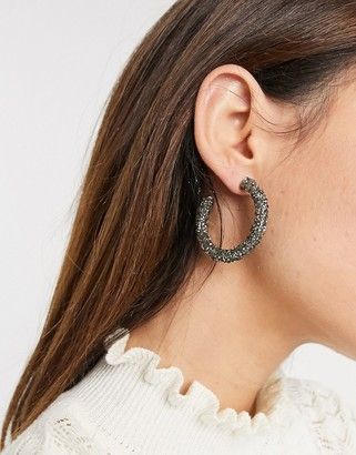 Accessorize textured hoop earrings in black
