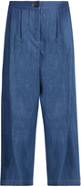 ADAM by Adam Lippes Pleated-front wide-leg cropped jeans