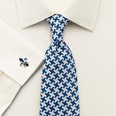 Charles Tyrwhitt Blue silk luxury oversized end-on-end puppytooth tie