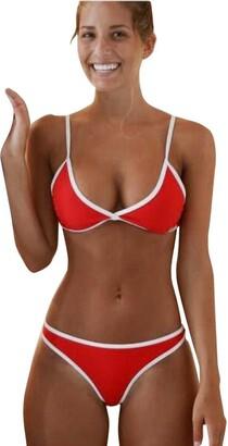 Homebaby   Swimwear HOMEBABY Women Red Bikini Set Push-Up Padded Swimsuit Ladies Girls Casual Bathing Swimsuit Vintage Bra +Thong Bikini Set Swinwear Beachwear Tracksuit Sportswear (L-Cup: 34C/34D/36A/36B