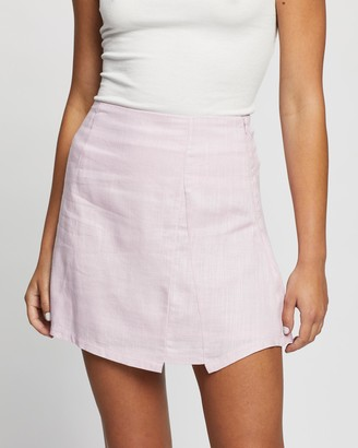 Atmos & Here Atmos&Here - Women's Pink Mini skirts - Eva Linen Skirt - Size 6 at The Iconic