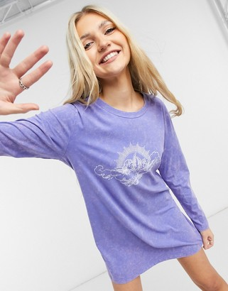 Noisy May Exclusive t-shirt dress with cherub motif in washed purple