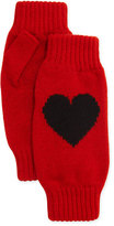 Rosie Sugden Cashmere Heart Fingerless Gloves, Red/Black