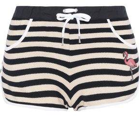 RED Valentino Appliqued Striped Cotton-blend Crochet-knit Shorts