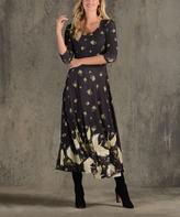 Green & Black Swan Three-Quarter Sleeve Midi Dress