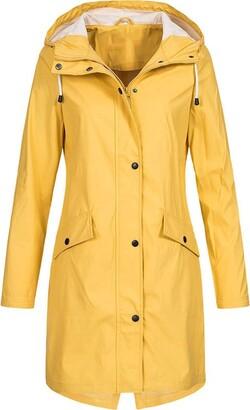 CHMORA Women Waterproof Long Coats Ladies Long Sleeve Outdoor Hooded Winderproof Jacket Lightweight Active Raincoat Windbreaker Yellow
