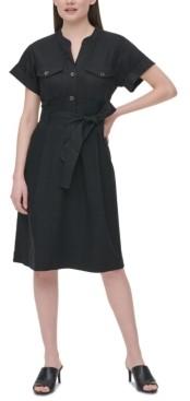 Calvin Klein Tie-Waist Linen Shirtdress