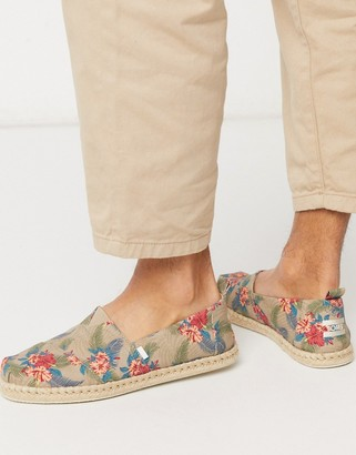 Toms espadrilles in tropical print with rope detail