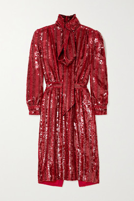 Saint Laurent Pussy-bow Striped Sequined Silk-crepe Midi Dress - Red