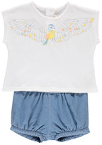 Chloé Light Denim Shorts + Bird T-Shirt