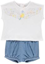 Chloé Sale - Light Denim Shorts + Bird T-Shirt