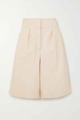 Brunello Cucinelli Pleated Leather Shorts - Beige