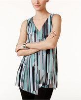 Alfani Printed Asymmetrical Mesh Top, Only at Macy's