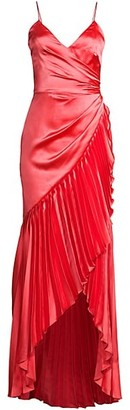 Flor Et. Al Sharona Pleated Ruffle High-Low Gown