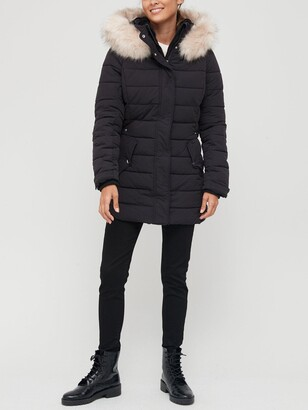 Very Short Padded Coat With Drawcord - Black