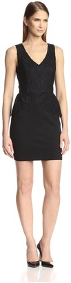 Society New York Women's Sleeveless Peplum Lace Dress
