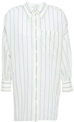 Brunello Cucinelli Bead-embellished Striped Cotton And Silk-blend Shirt