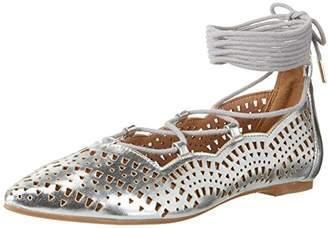 Buffalo David Bitton Shoes 327909 HM20108-6 1# MET PU, Women's Ankle Strap Sandals, Silver, (38 EU)