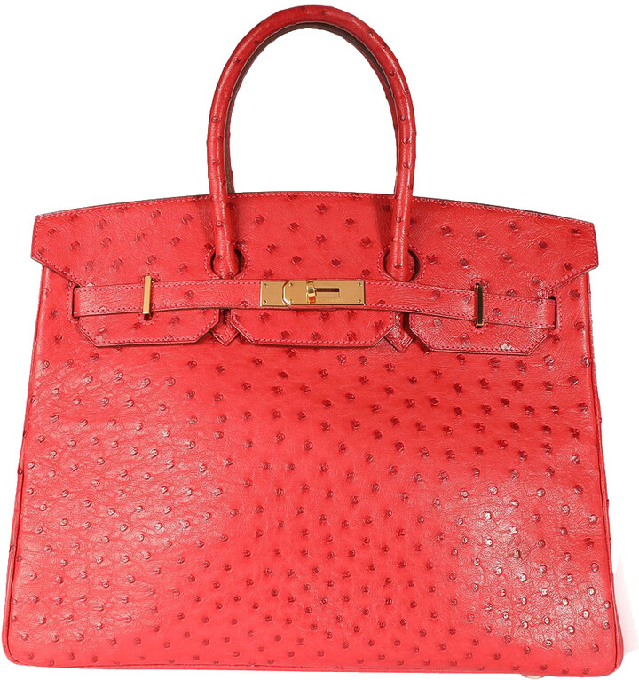 Thumbnail for your product : Hermes Rouge Ostrich Leather Gold Hardware Birkin 35 Bag