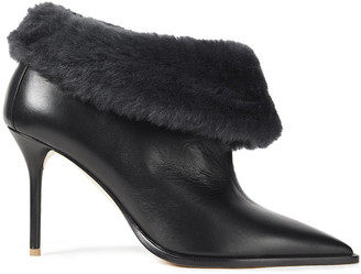 Malone Souliers Tomi 85 Shearling-trimmed Leather Ankle Boots