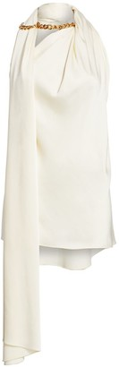 Oscar de la Renta Crossover Neck Chain Blouse