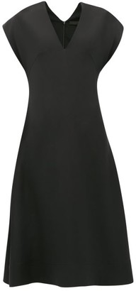 Wardrobe NYC Release 05 V-neck Cap-sleeve Silk-crepe Dress - Black