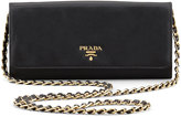Prada Saffiano Wallet on a Chain, Black (Nero)