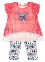 Little Lass Little Girl's Three-Piece Mesh Butterfly Top, Tank, and Capris Set