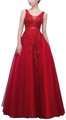 OwlFay Elegant Women Sleeveless Lace Tulle Wedding Bridesmaid Evening Party Dress Flower Applique A-line Low Cut Floor Length Cocktail Pageant Prom Long Maxi Dresses Ball Gown Burgundy UK 16