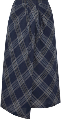 Vince Wrap-effect Checked Cotton-blend Midi Skirt