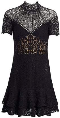 Jonathan Simkhai Multimedia Corded Lace Mini Ruffle A-Line Dress