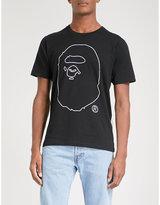 A Bathing Ape Black Printed Ape-print Cotton-jersey T-shirt