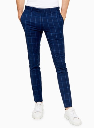 Topman Navy Super Skinny Fit Windowpane Check Suit Trousers