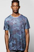 Boohoo Blue Camo Sublimation T Shirt