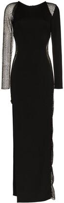 HANEY Jagger mesh panel side slit gown