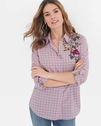 Chico's Chicos Floral-Embroidered Gingham Shirt