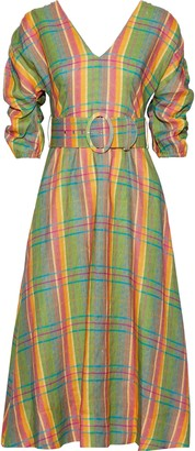 Nicholas Belted Gathered Checked Linen Midi Dress