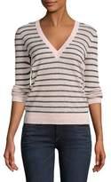 Veronica Beard Dean V-Neck Striped Sweater
