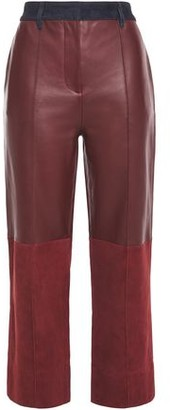 Victoria Victoria Beckham Victoria, Victoria Beckham Paneled Suede And Leather Straight-leg Pants