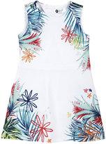 Petit Lem Tahiti Island-Print Dress, White, Size 3-9M