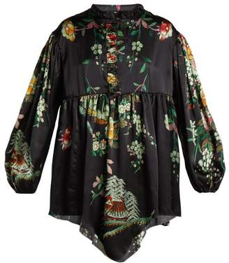 By Walid Nicky Floral-print Silk Blouse - Womens - Navy Print