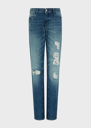 Emporio Armani J15 Relaxed-Fit Denim Jeans With Patches And Topstitching